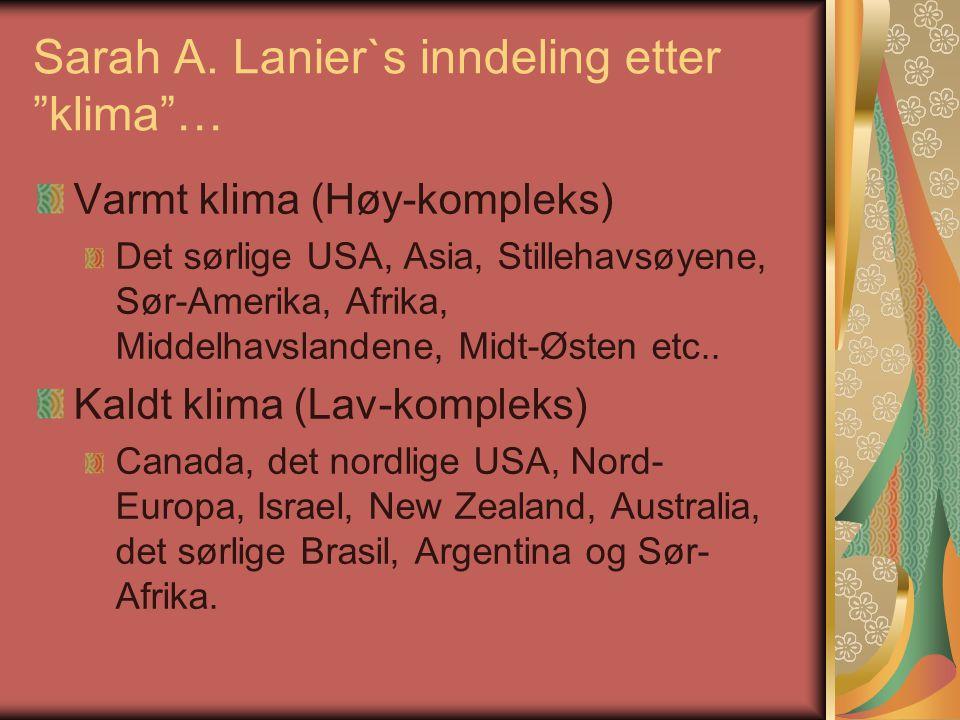Sarah A. Lanier`s inndeling etter klima …