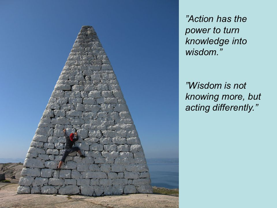 Action has the power to turn knowledge into wisdom.