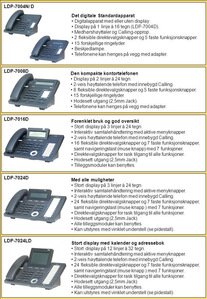 LDP-7004N/ D Det digitale Standardapparat. Digitalapparat med eller uten display. Display på 1 linje á 16 tegn (LDP-7004D).
