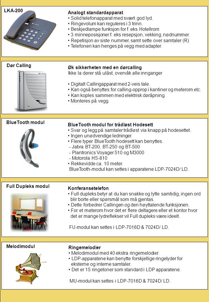 LKA-200 Analogt standardapparat. Solid telefonapparat med svært god lyd. Ringevolum kan reguleres i 3 trinn.
