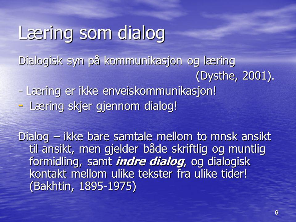 Læring som dialog Dialogisk syn på kommunikasjon og læring