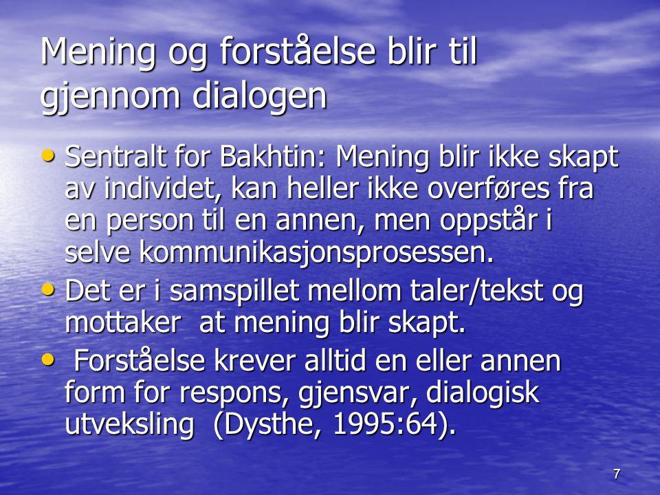 Mening og forståelse blir til gjennom dialogen
