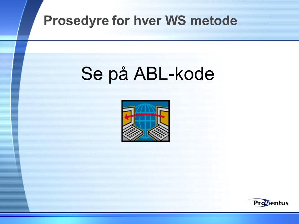 Prosedyre for hver WS metode
