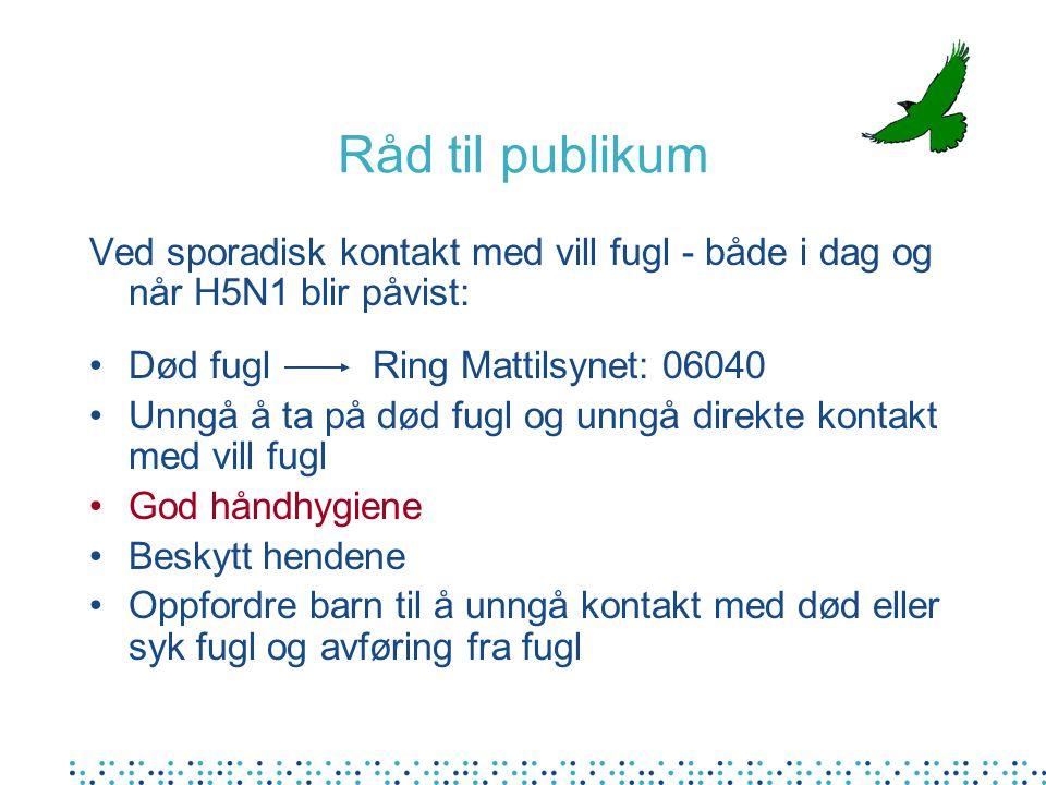 Råd til publikum Ved sporadisk kontakt med vill fugl - både i dag og når H5N1 blir påvist: Død fugl Ring Mattilsynet: 06040.