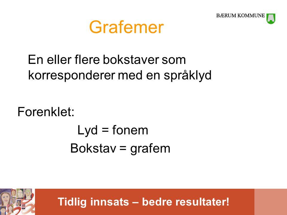 Grafemer En eller flere bokstaver som korresponderer med en språklyd