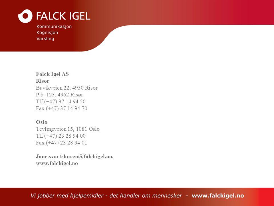 Falck Igel AS Risør. Buvikveien 22, 4950 Risør. P.b. 123, 4952 Risør. Tlf (+47) 37 14 94 50. Fax (+47) 37 14 94 70.