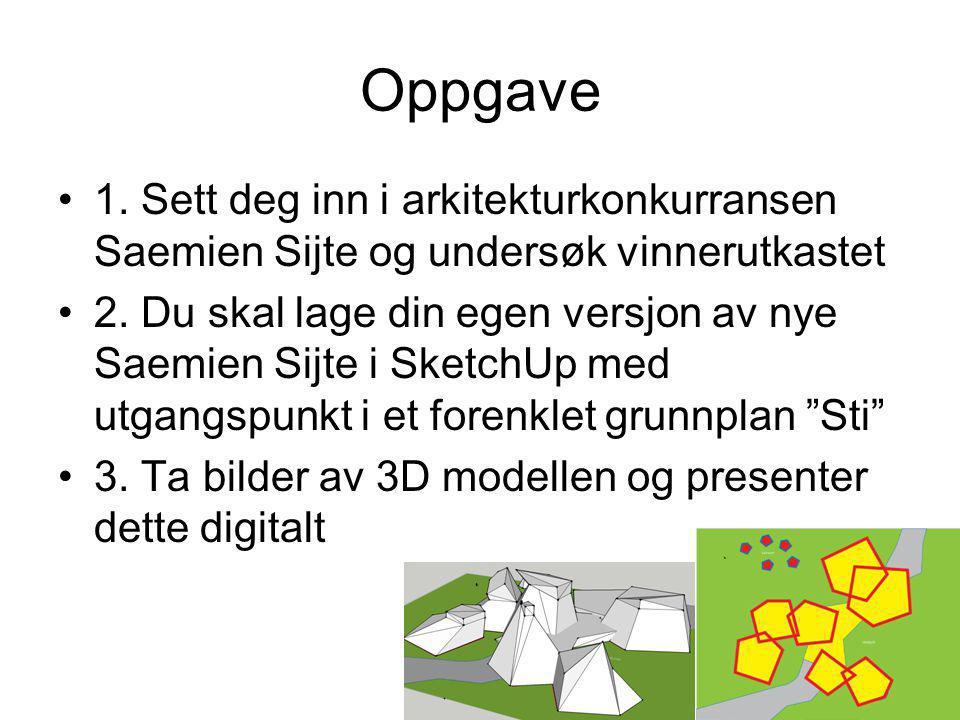 Oppgave 1. Sett deg inn i arkitekturkonkurransen Saemien Sijte og undersøk vinnerutkastet.