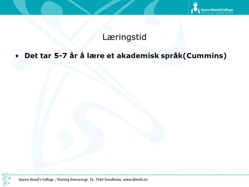 Læringstid Det tar 5-7 år å lære et akademisk språk(Cummins)