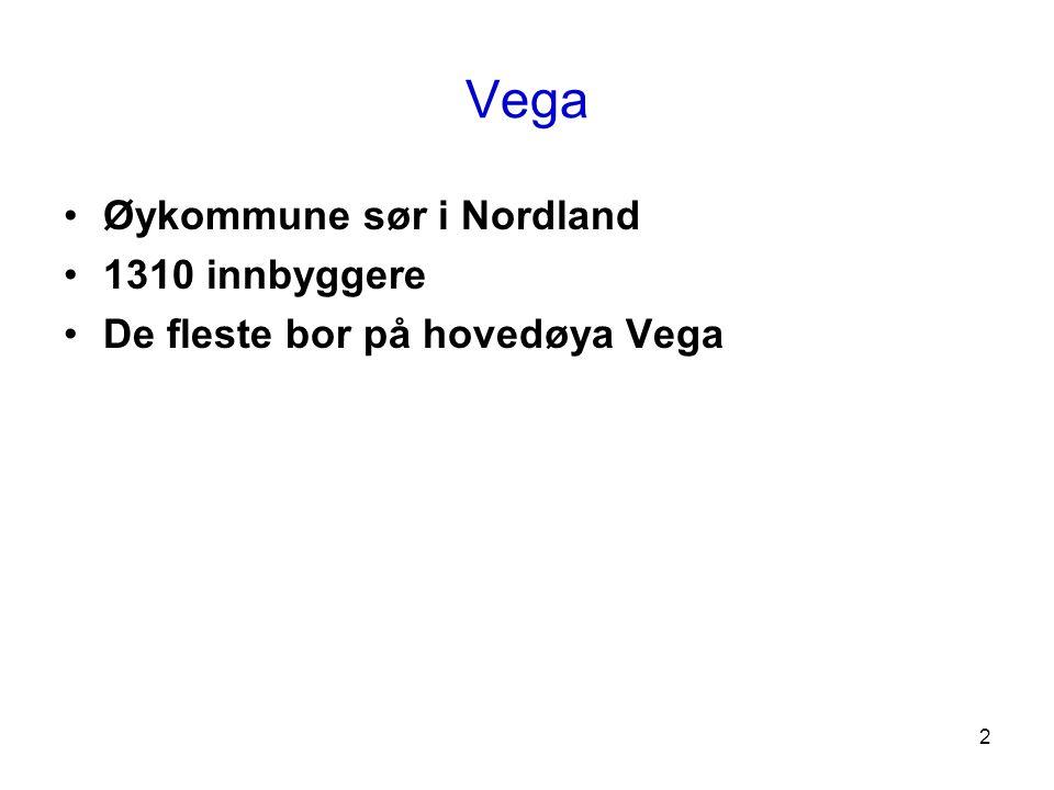 Vega Øykommune sør i Nordland 1310 innbyggere