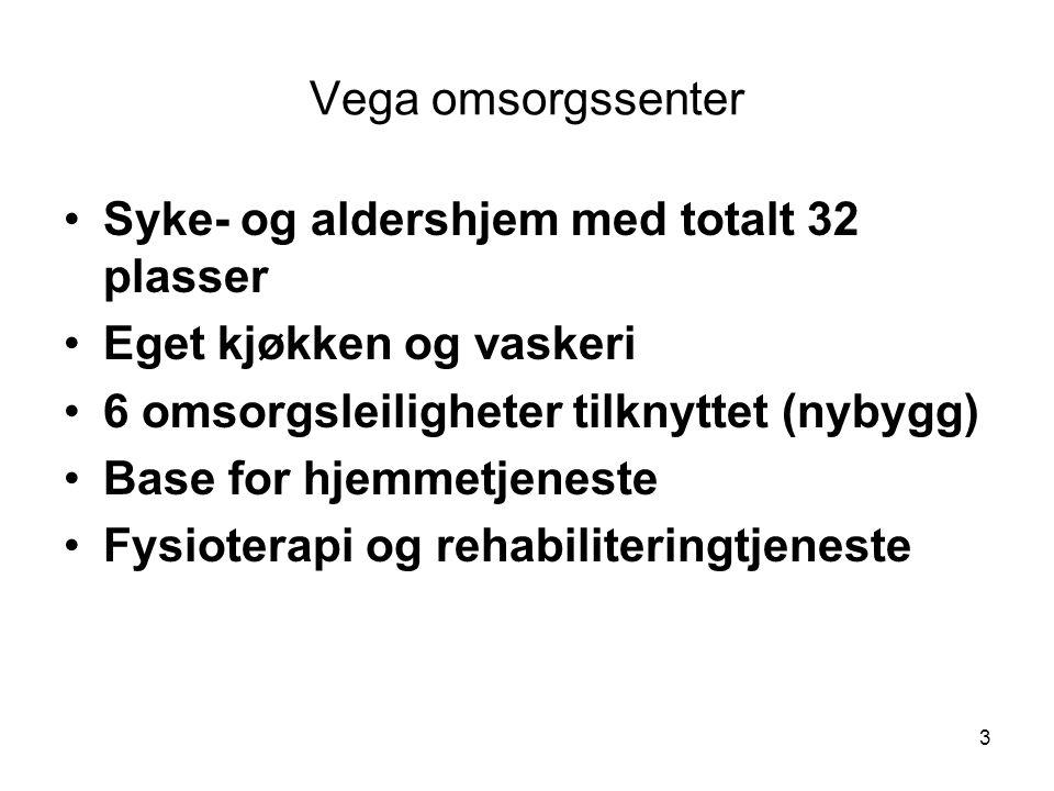 Vega omsorgssenter Syke- og aldershjem med totalt 32 plasser. Eget kjøkken og vaskeri. 6 omsorgsleiligheter tilknyttet (nybygg)