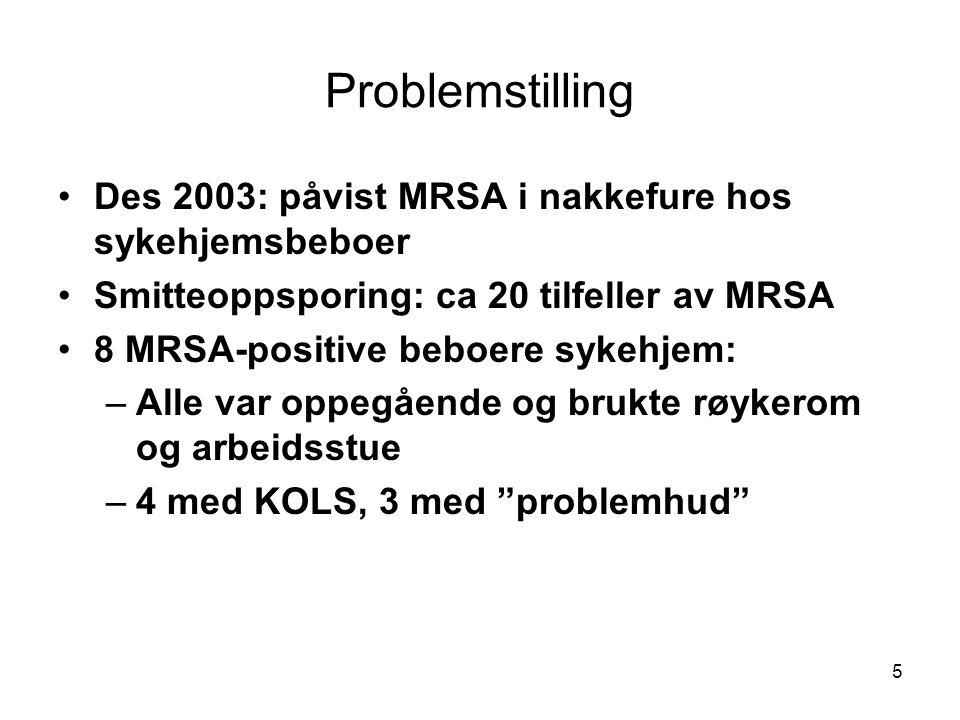 Problemstilling Des 2003: påvist MRSA i nakkefure hos sykehjemsbeboer