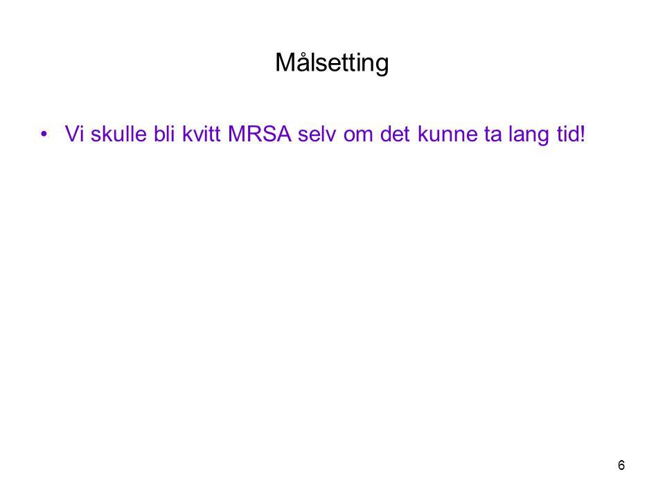 Målsetting Vi skulle bli kvitt MRSA selv om det kunne ta lang tid!