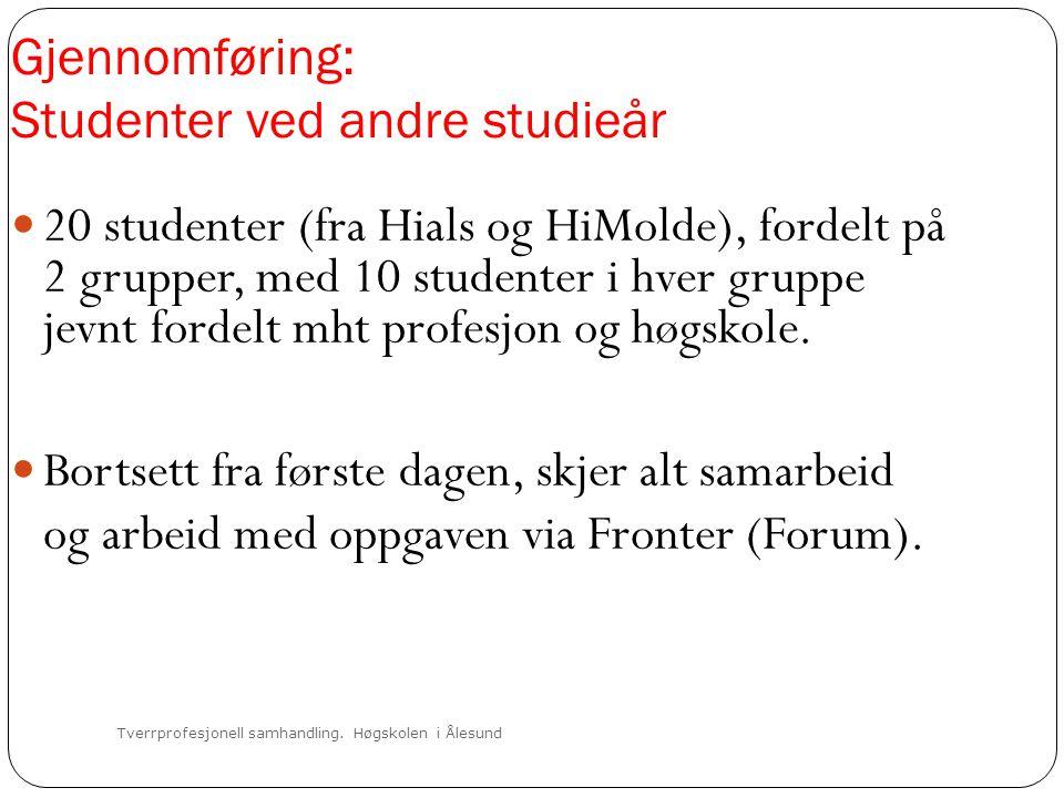 Gjennomføring: Studenter ved andre studieår