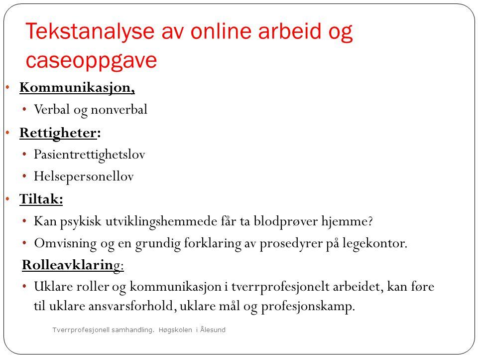 Tekstanalyse av online arbeid og caseoppgave