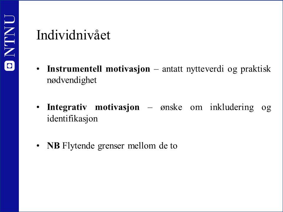 Individnivået Instrumentell motivasjon – antatt nytteverdi og praktisk nødvendighet. Integrativ motivasjon – ønske om inkludering og identifikasjon.