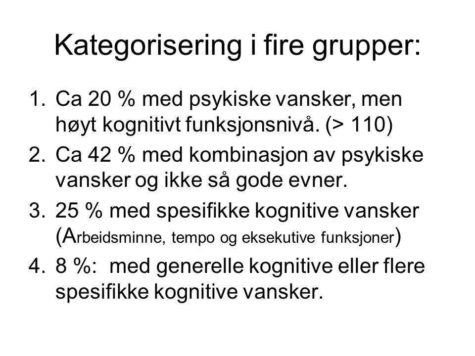 Kategorisering i fire grupper: