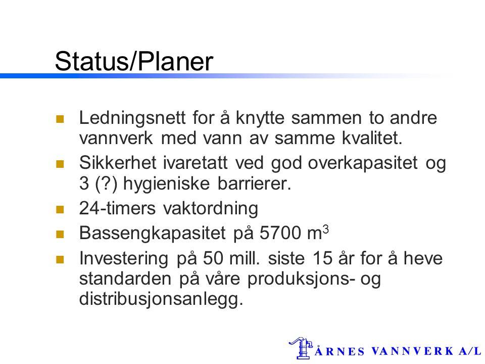 Status/Planer Ledningsnett for å knytte sammen to andre vannverk med vann av samme kvalitet.