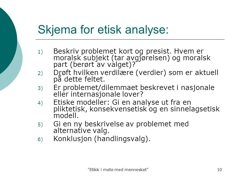 Skjema for etisk analyse: