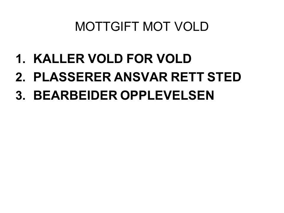 MOTTGIFT MOT VOLD KALLER VOLD FOR VOLD PLASSERER ANSVAR RETT STED BEARBEIDER OPPLEVELSEN