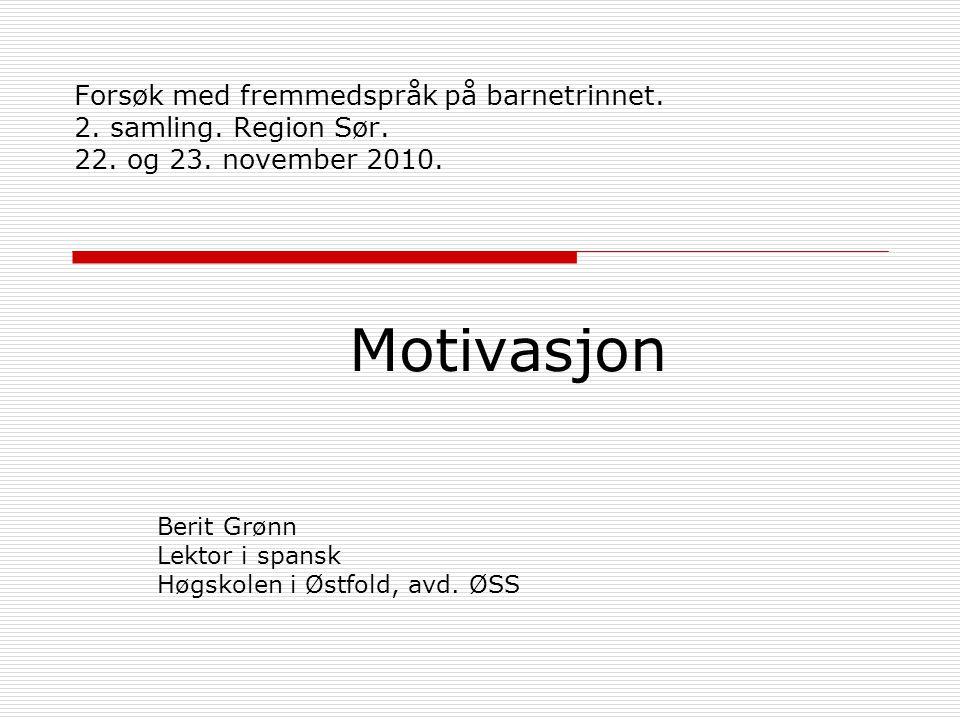 Motivasjon Berit Grønn Lektor i spansk Høgskolen i Østfold, avd. ØSS