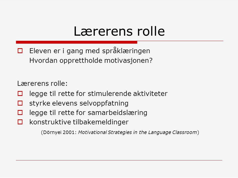 Lærerens rolle Eleven er i gang med språklæringen
