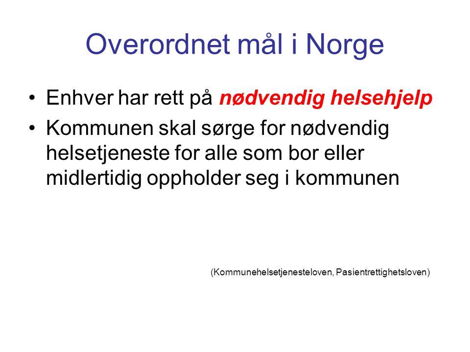 Overordnet mål i Norge Enhver har rett på nødvendig helsehjelp