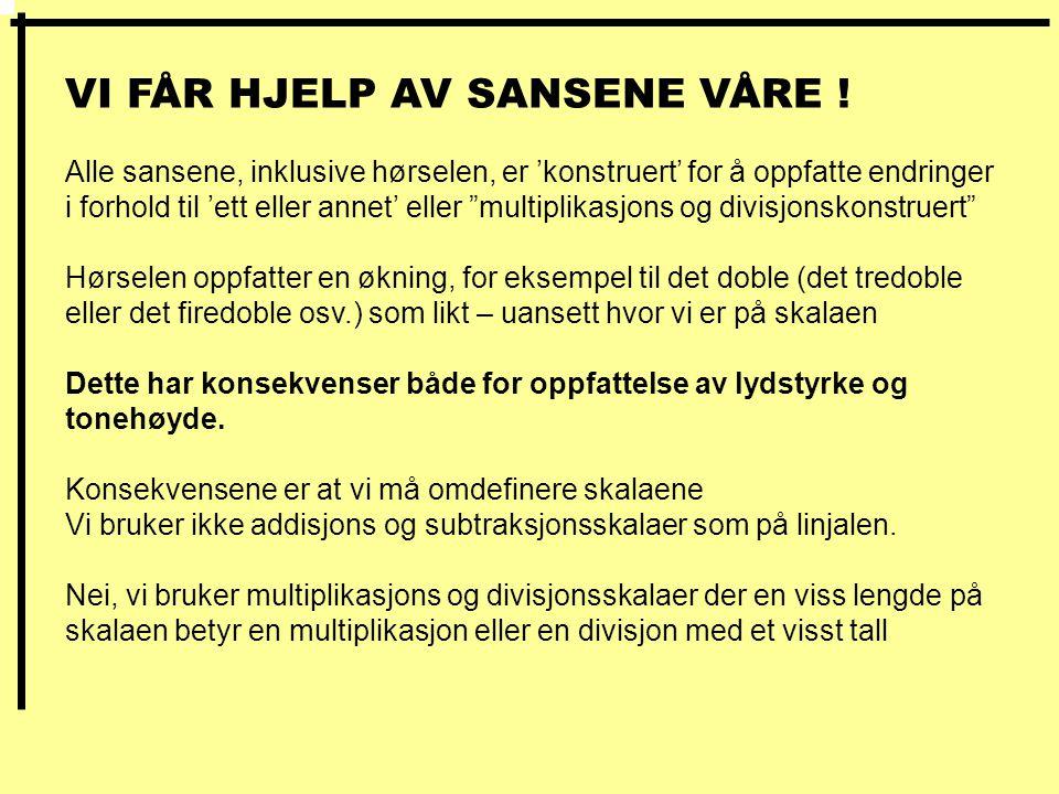 VI FÅR HJELP AV SANSENE VÅRE !