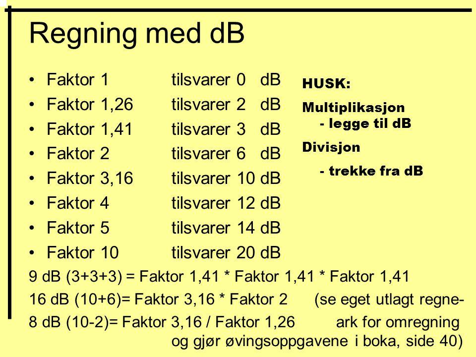 Regning med dB Faktor 1 tilsvarer 0 dB Faktor 1,26 tilsvarer 2 dB