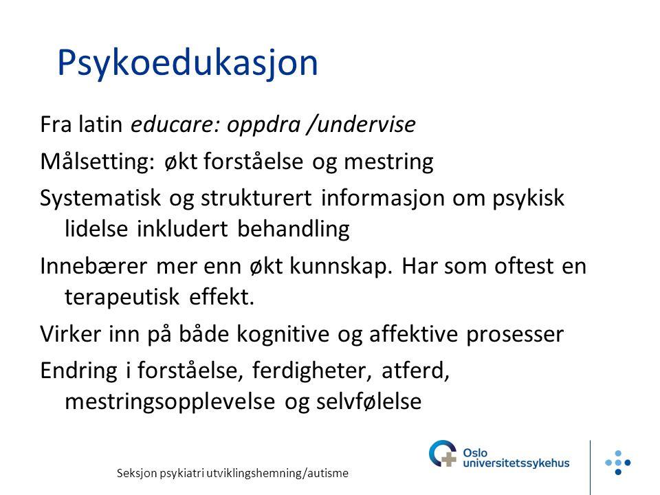 Psykoedukasjon Fra latin educare: oppdra /undervise