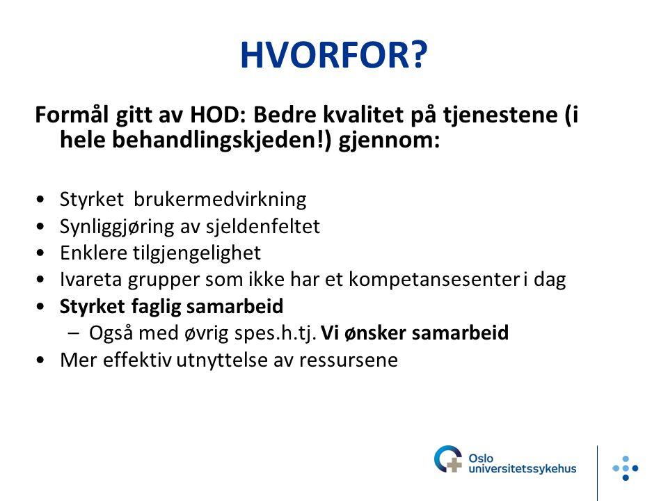 HVORFOR Formål gitt av HOD: Bedre kvalitet på tjenestene (i hele behandlingskjeden!) gjennom: Styrket brukermedvirkning.