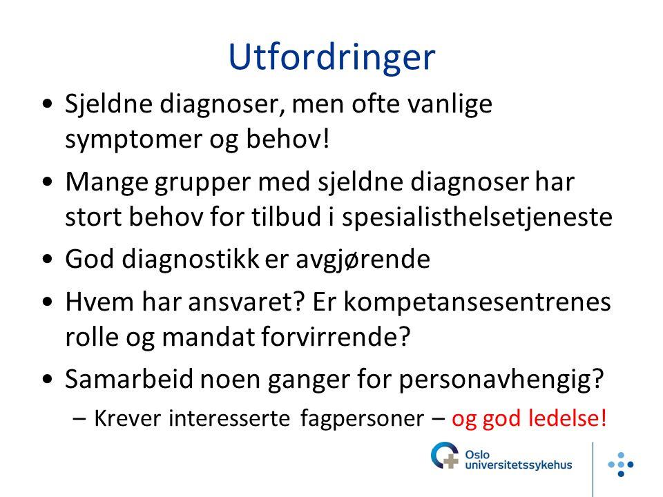 Utfordringer Sjeldne diagnoser, men ofte vanlige symptomer og behov!