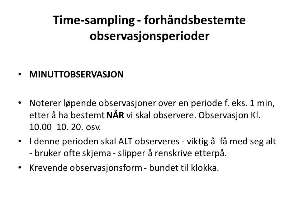 Time-sampling - forhåndsbestemte observasjonsperioder