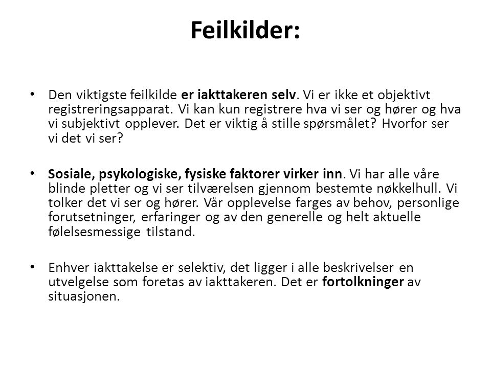 Feilkilder: