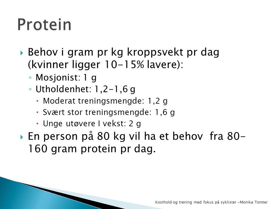 Protein Behov i gram pr kg kroppsvekt pr dag (kvinner ligger 10-15% lavere): Mosjonist: 1 g. Utholdenhet: 1,2-1,6 g.