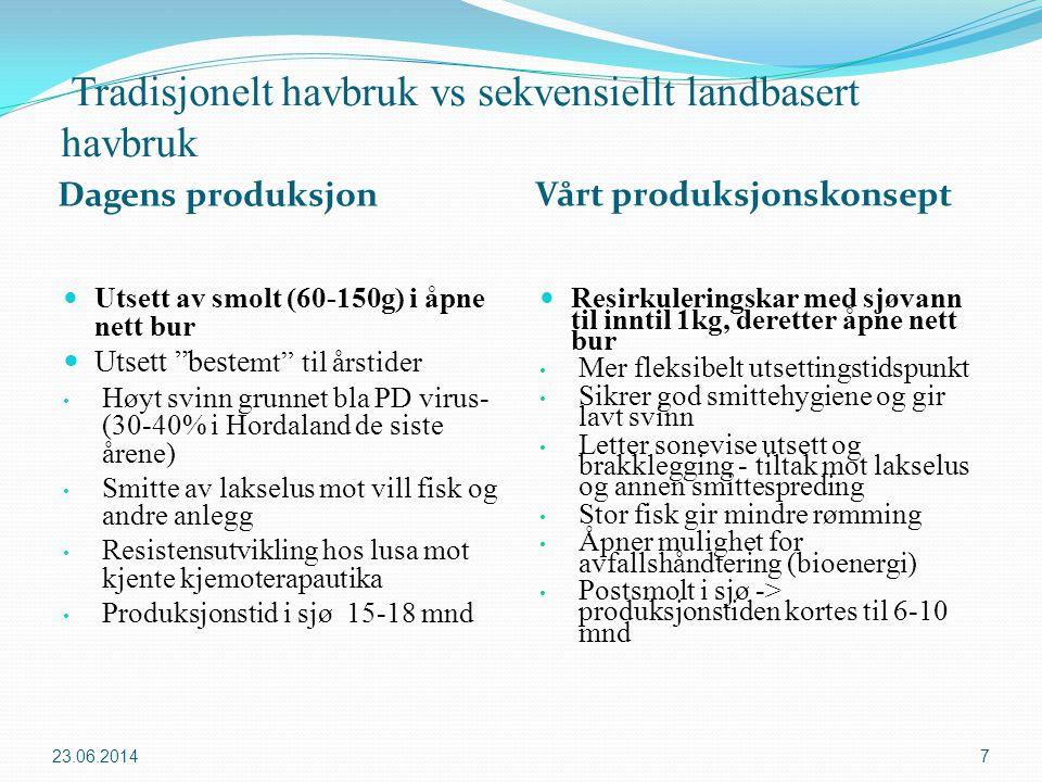 Tradisjonelt havbruk vs sekvensiellt landbasert havbruk