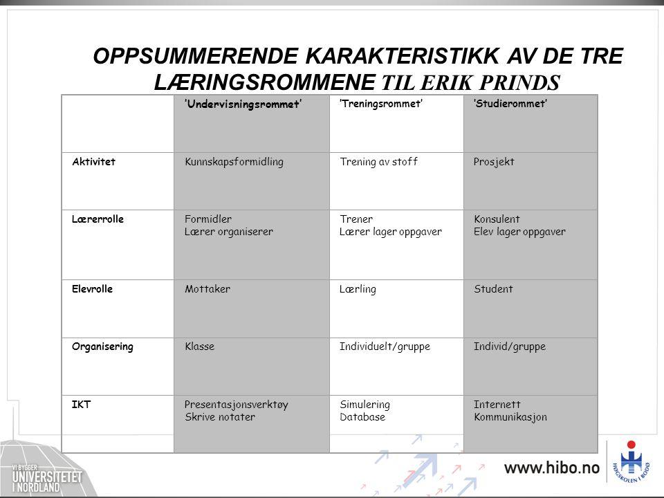 OPPSUMMERENDE KARAKTERISTIKK AV DE TRE LÆRINGSROMMENE TIL ERIK PRINDS