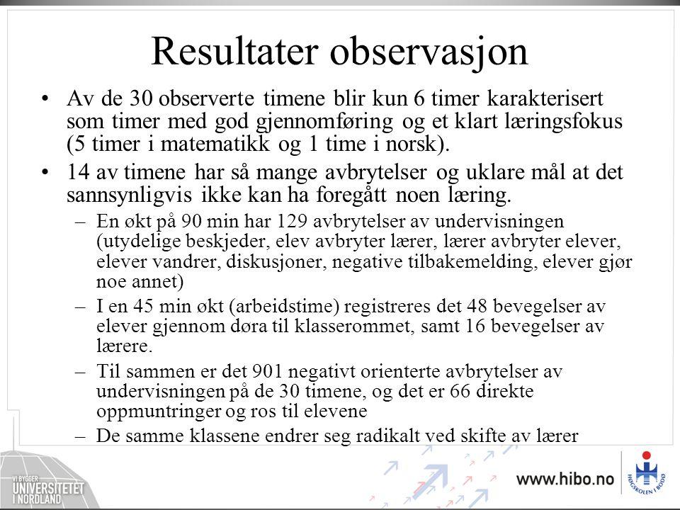 Resultater observasjon