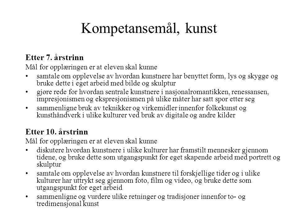 Kompetansemål, kunst Etter 7. årstrinn Etter 10. årstrinn