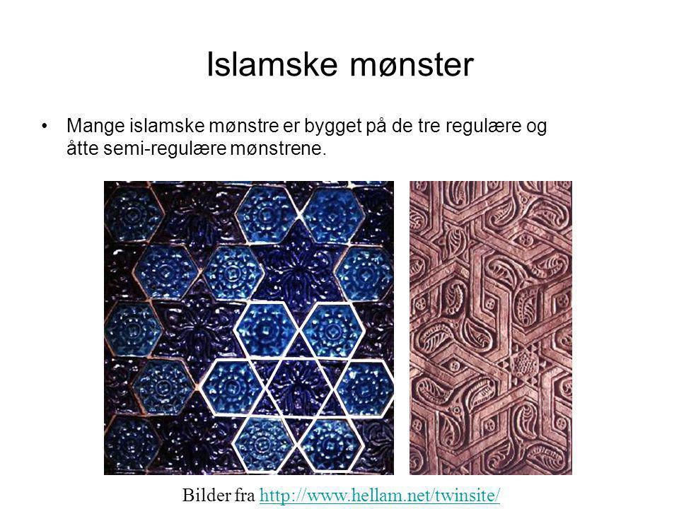Islamske mønster Mange islamske mønstre er bygget på de tre regulære og åtte semi-regulære mønstrene.