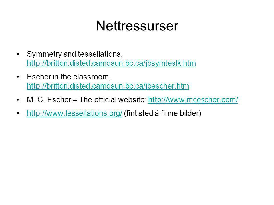 Nettressurser Symmetry and tessellations, http://britton.disted.camosun.bc.ca/jbsymteslk.htm.