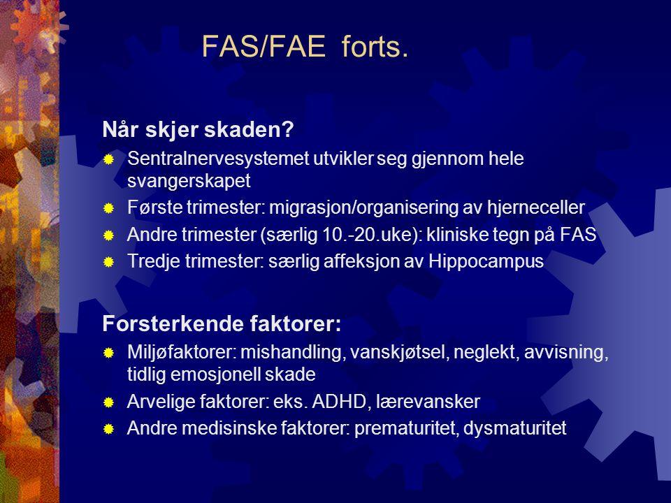 FAS/FAE forts. Når skjer skaden Forsterkende faktorer: