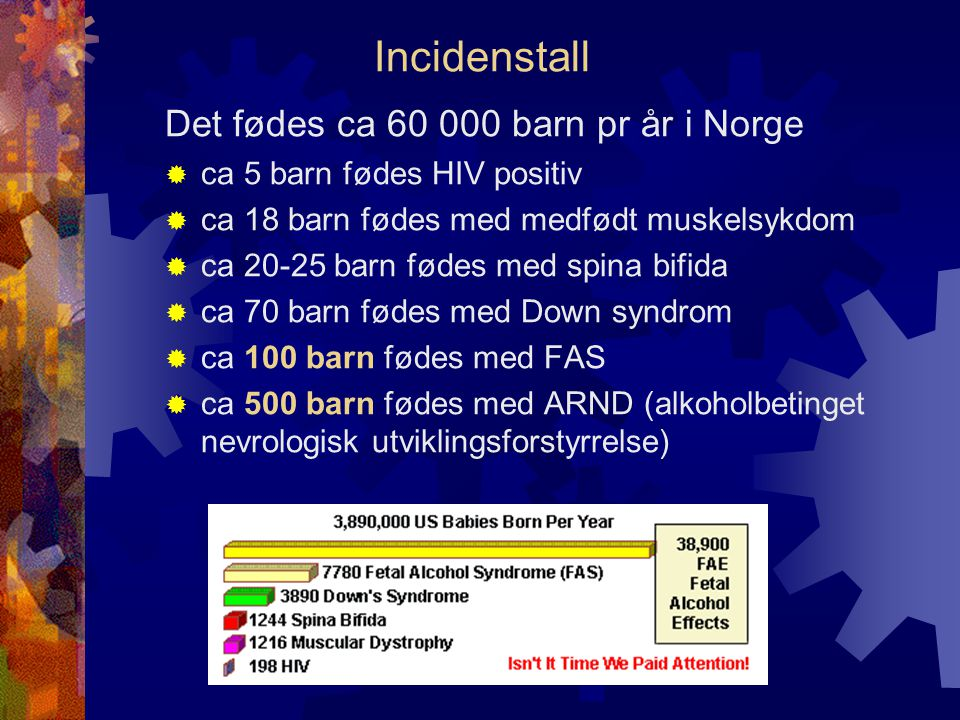 Incidenstall Det fødes ca 60 000 barn pr år i Norge