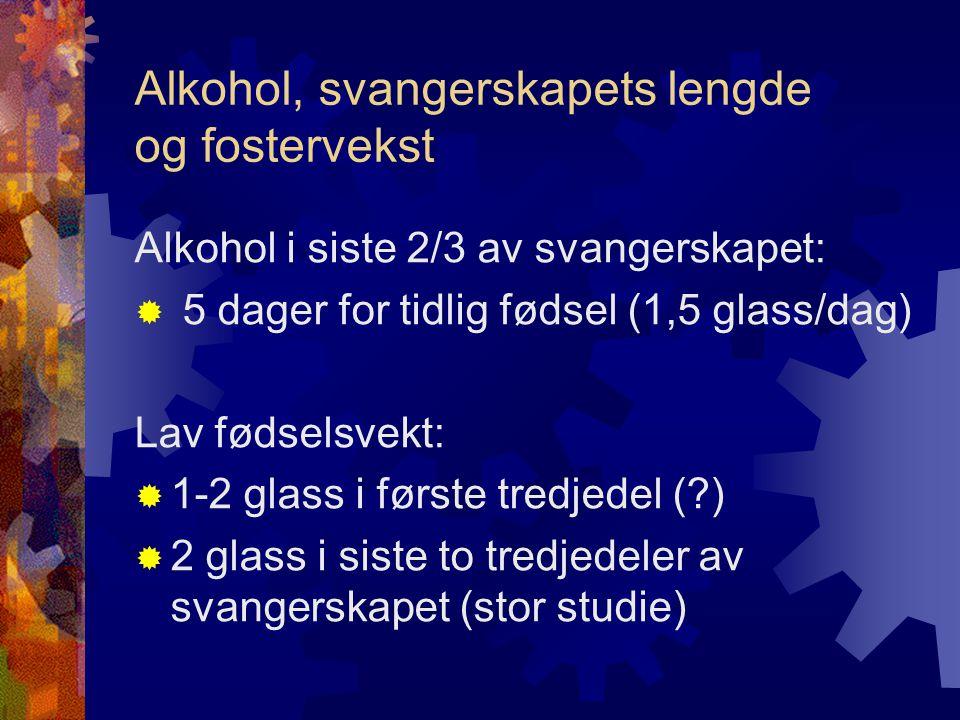 Alkohol, svangerskapets lengde og fostervekst