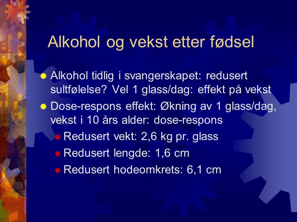 Alkohol og vekst etter fødsel