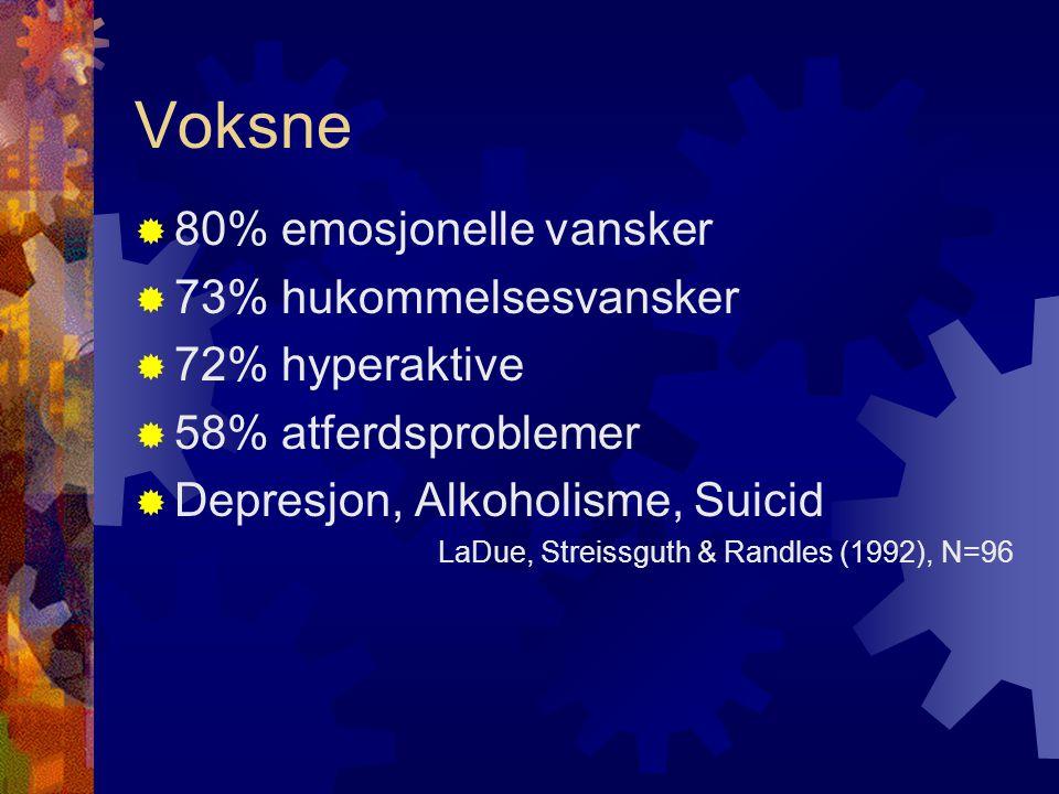 Voksne 80% emosjonelle vansker 73% hukommelsesvansker 72% hyperaktive