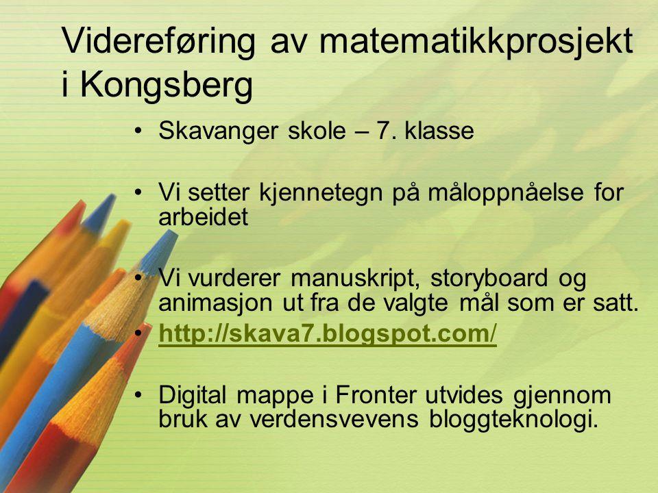 Videreføring av matematikkprosjekt i Kongsberg