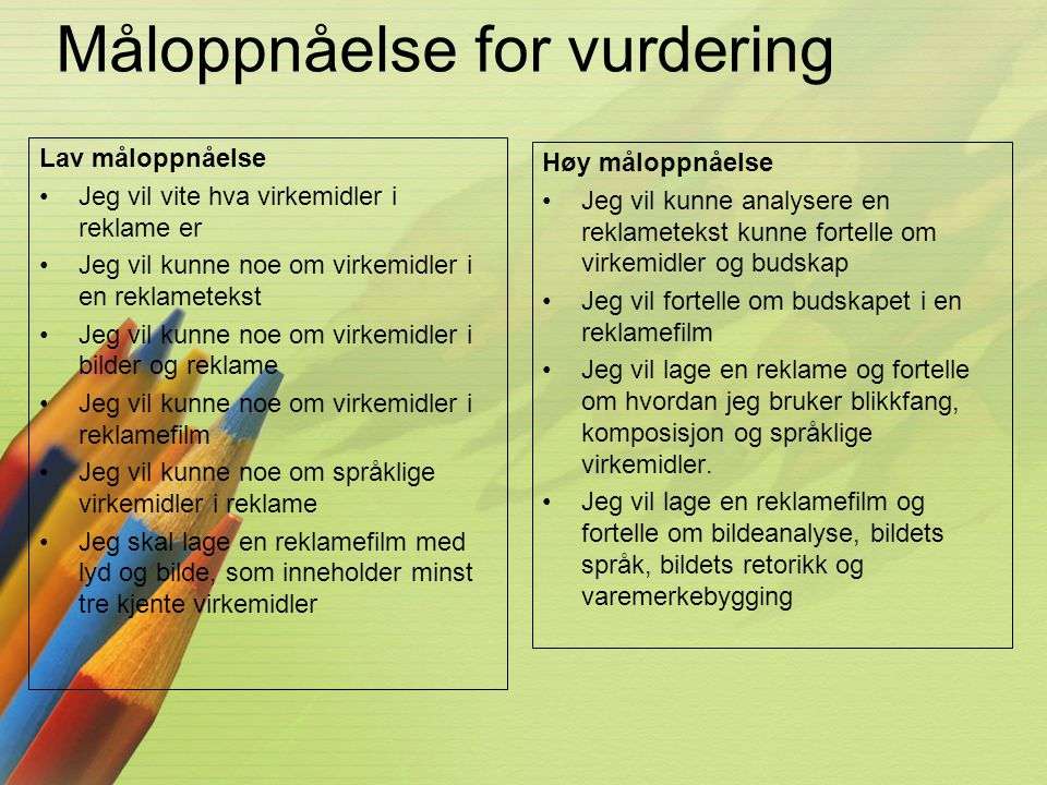 Måloppnåelse for vurdering