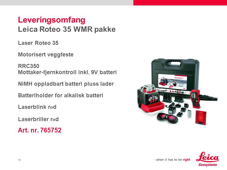 Leveringsomfang Leica Roteo 35 WMR pakke