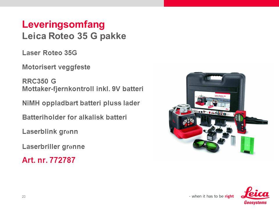 Leveringsomfang Leica Roteo 35 G pakke
