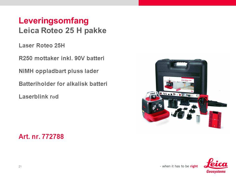 Leveringsomfang Leica Roteo 25 H pakke